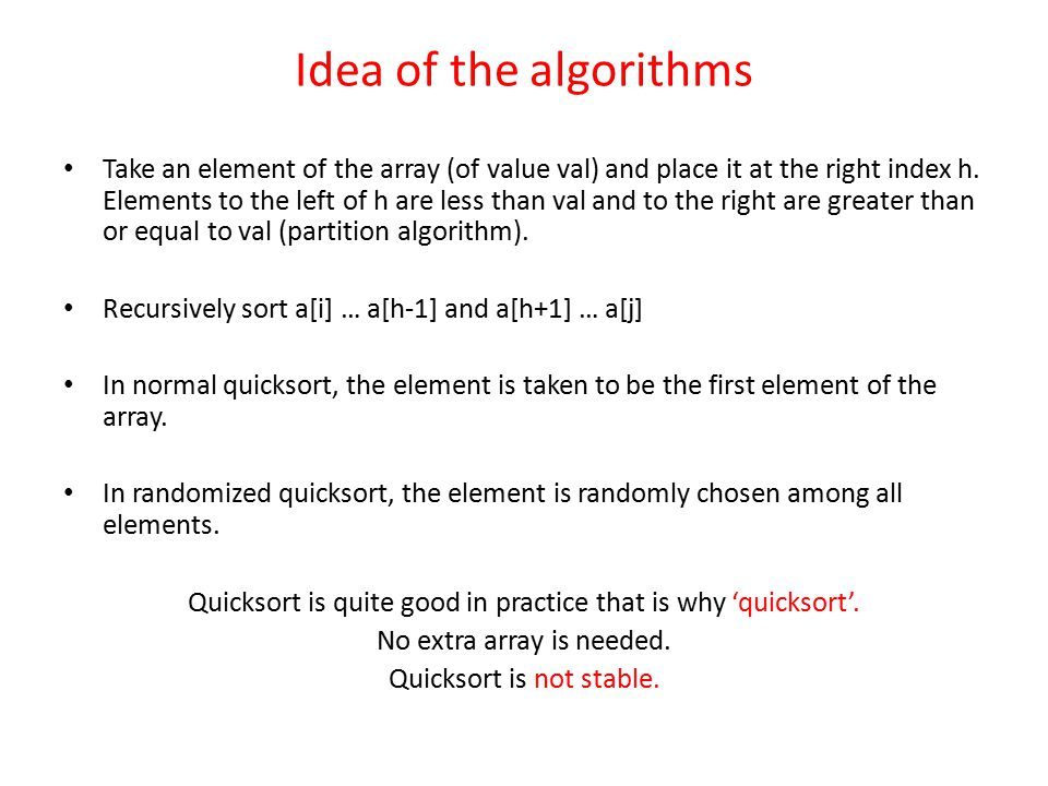 Idea of the algorithms