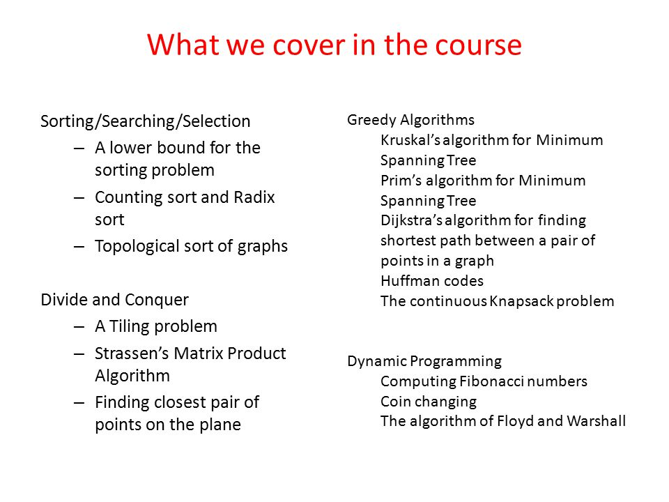 What we cover in the course