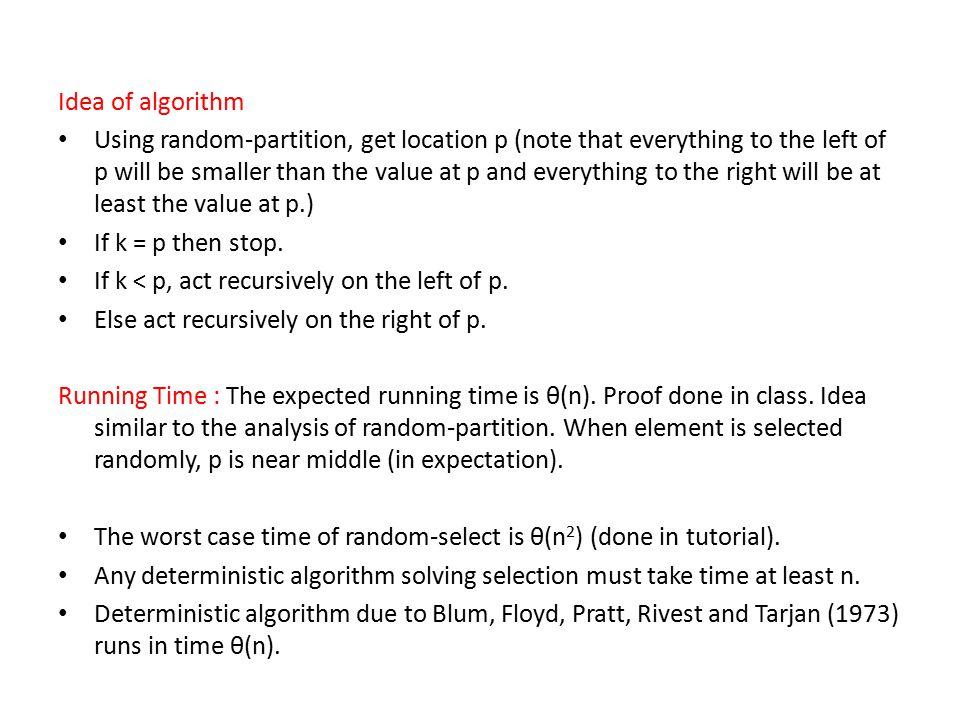 Idea of algorithm