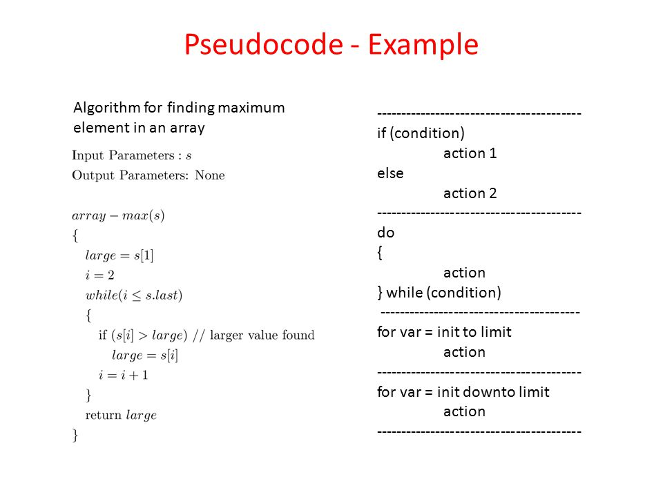 Pseudocode - Example Algorithm for finding maximum element in an array