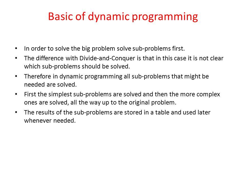 Basic of dynamic programming