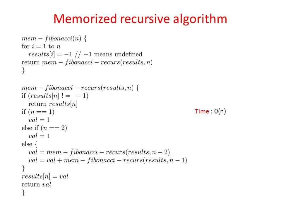 Memorized recursive algorithm