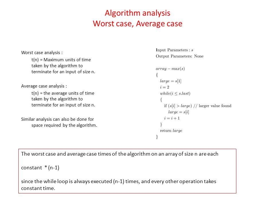 Algorithm analysis Worst case, Average case