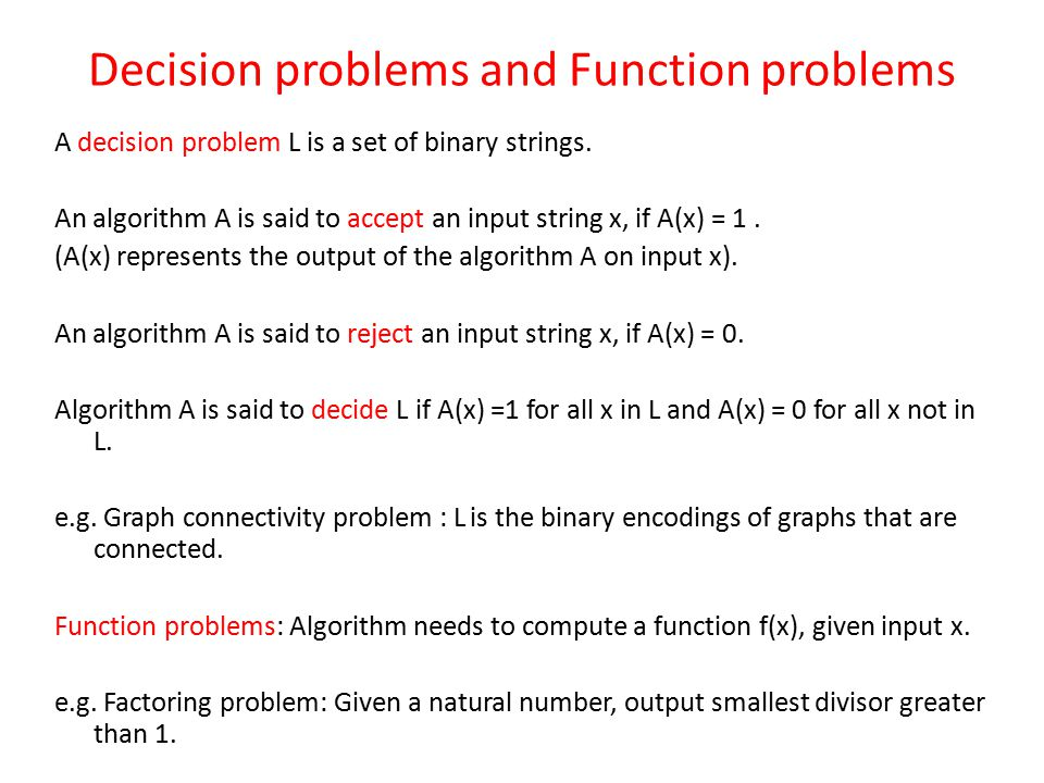 Decision problems and Function problems