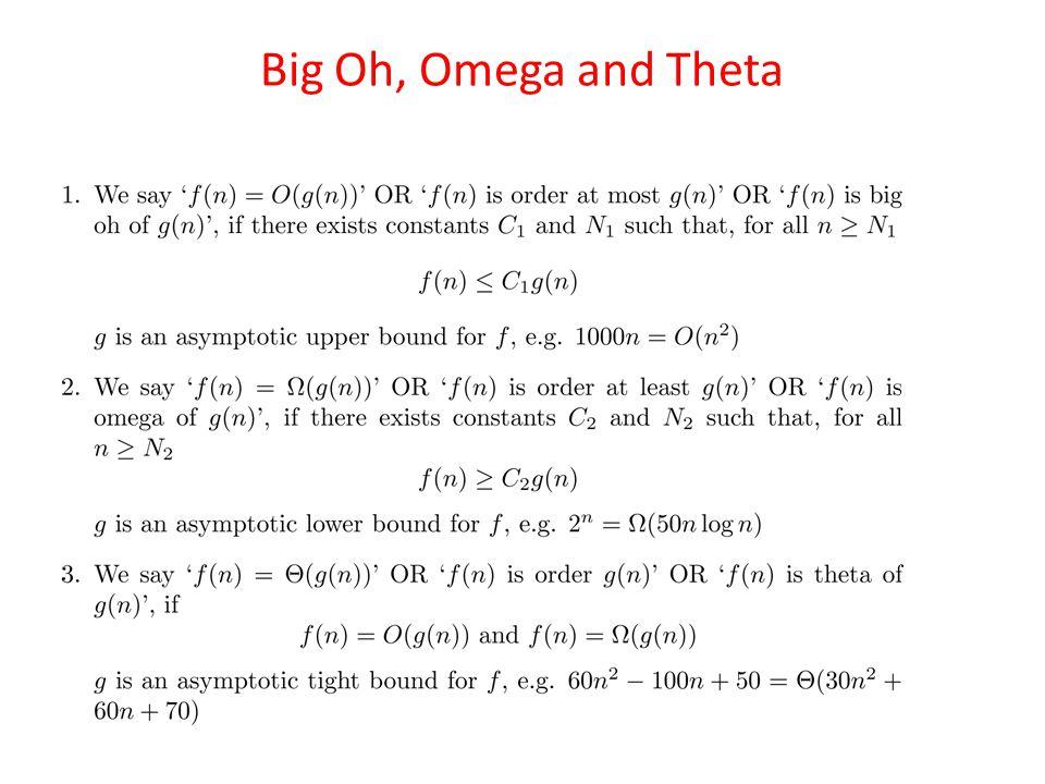 Big Oh, Omega and Theta
