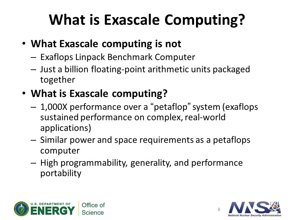 Key Performance Goals for an exascale computer (ECI)