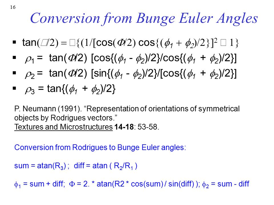 Conversion from Bunge Euler Angles