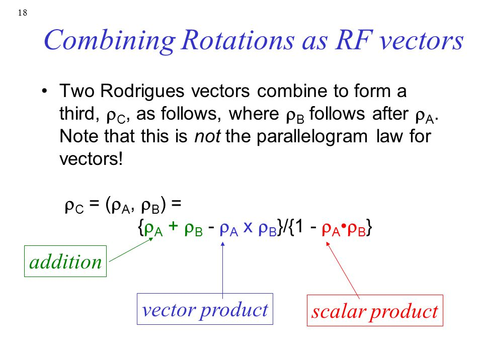 Combining Rotations as RF vectors