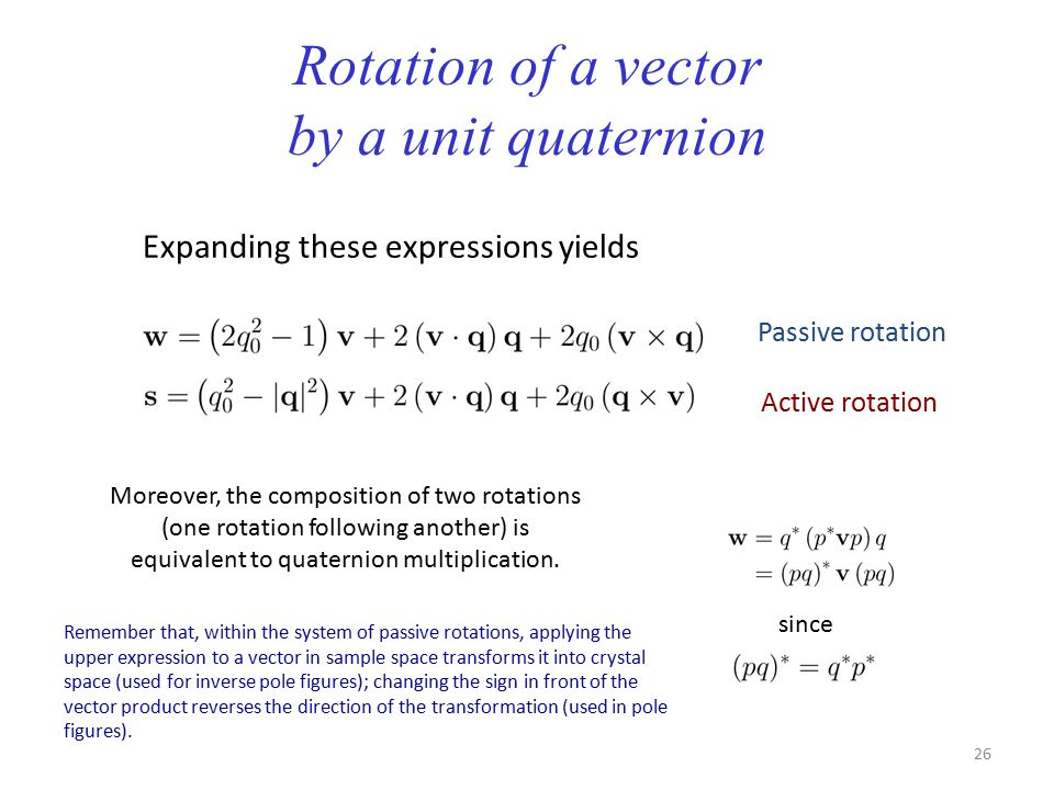 Rotation of a vector by a unit quaternion