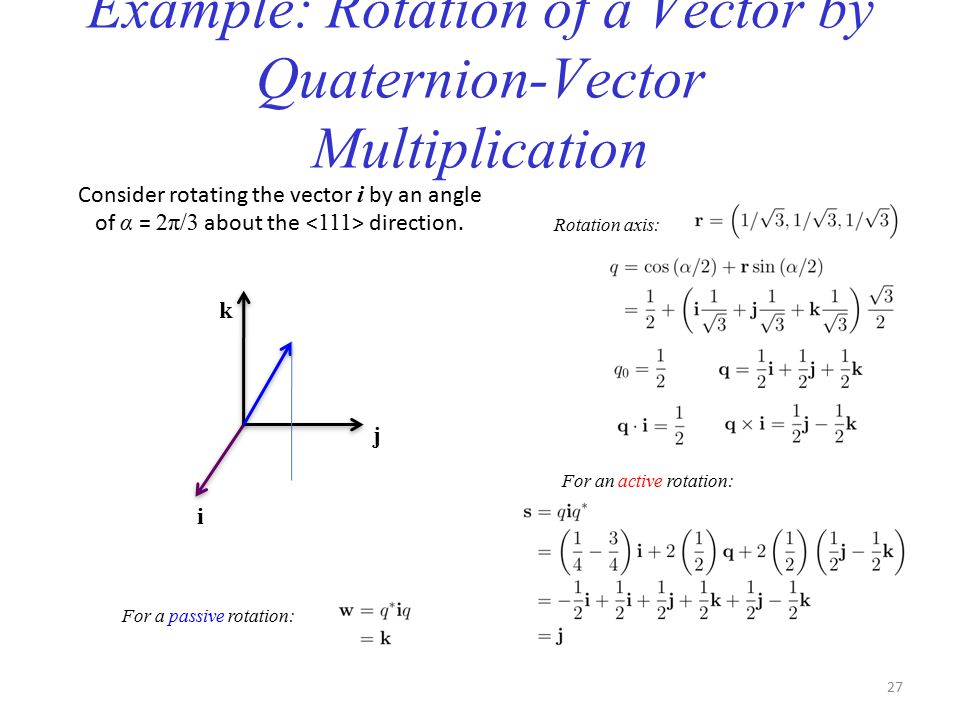 Example: Rotation of a Vector by Quaternion-Vector Multiplication