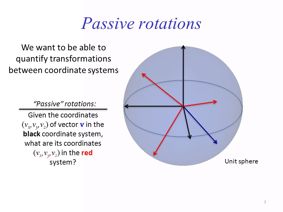 Passive rotations We want to be able to quantify transformations between coordinate systems.