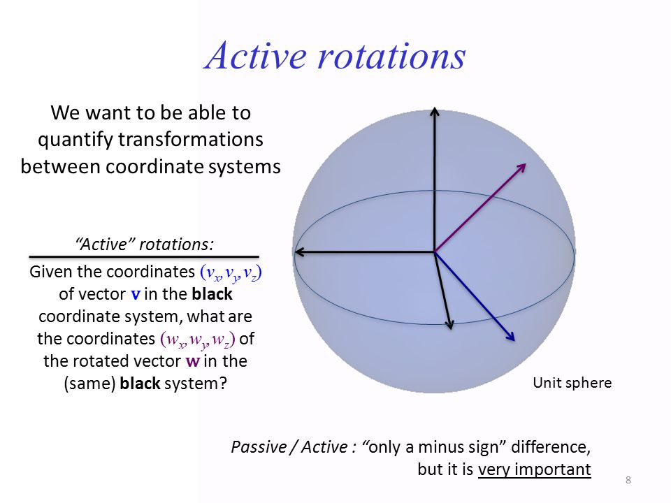 Active rotations We want to be able to quantify transformations between coordinate systems.