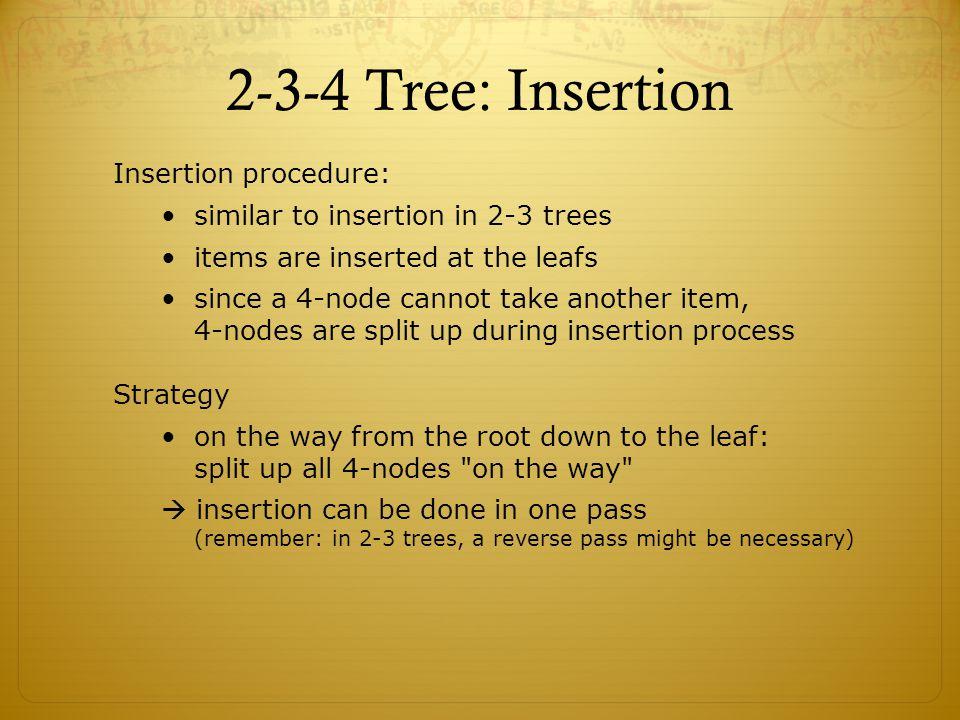 2-3-4 Tree: Insertion Insertion procedure: