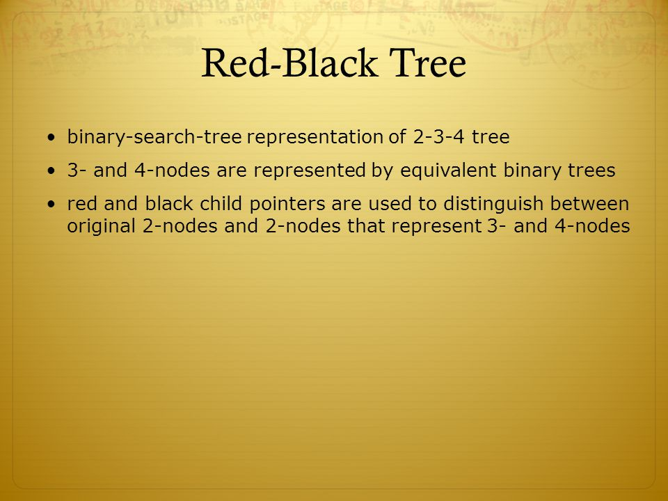 Red-Black Tree binary-search-tree representation of 2-3-4 tree