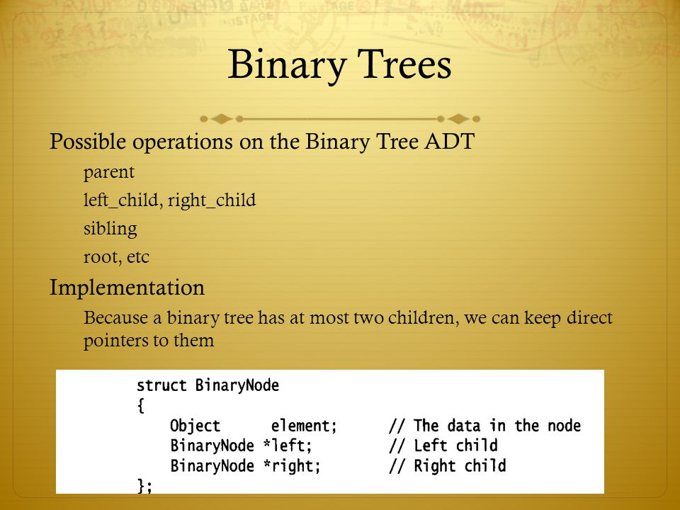 Binary Trees Possible operations on the Binary Tree ADT Implementation