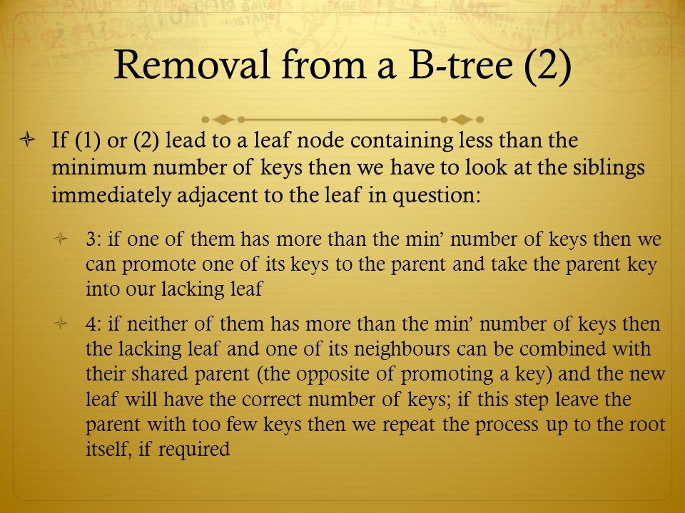 Removal from a B-tree (2)