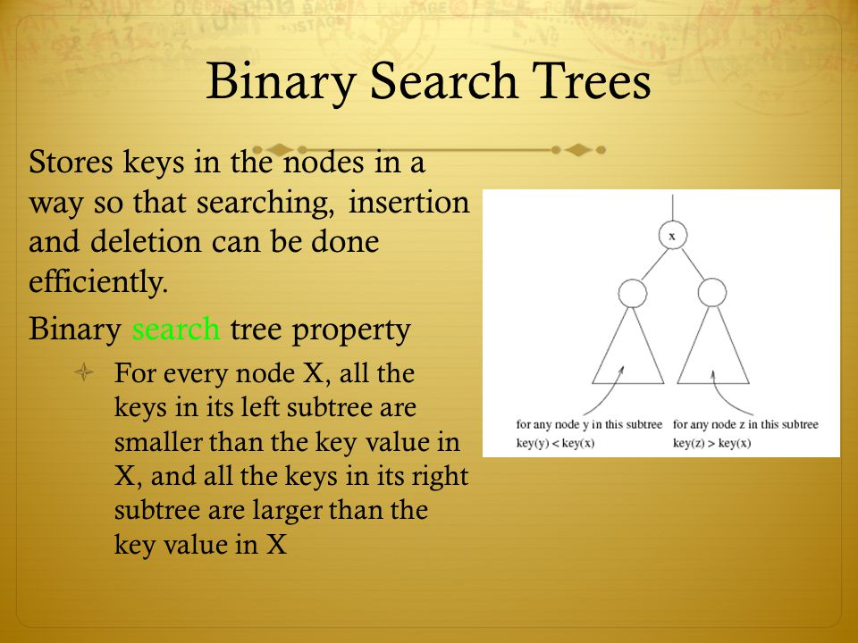 Binary Search Trees Stores keys in the nodes in a way so that searching, insertion and deletion can be done efficiently.