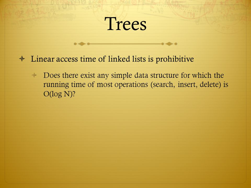 Trees Linear access time of linked lists is prohibitive