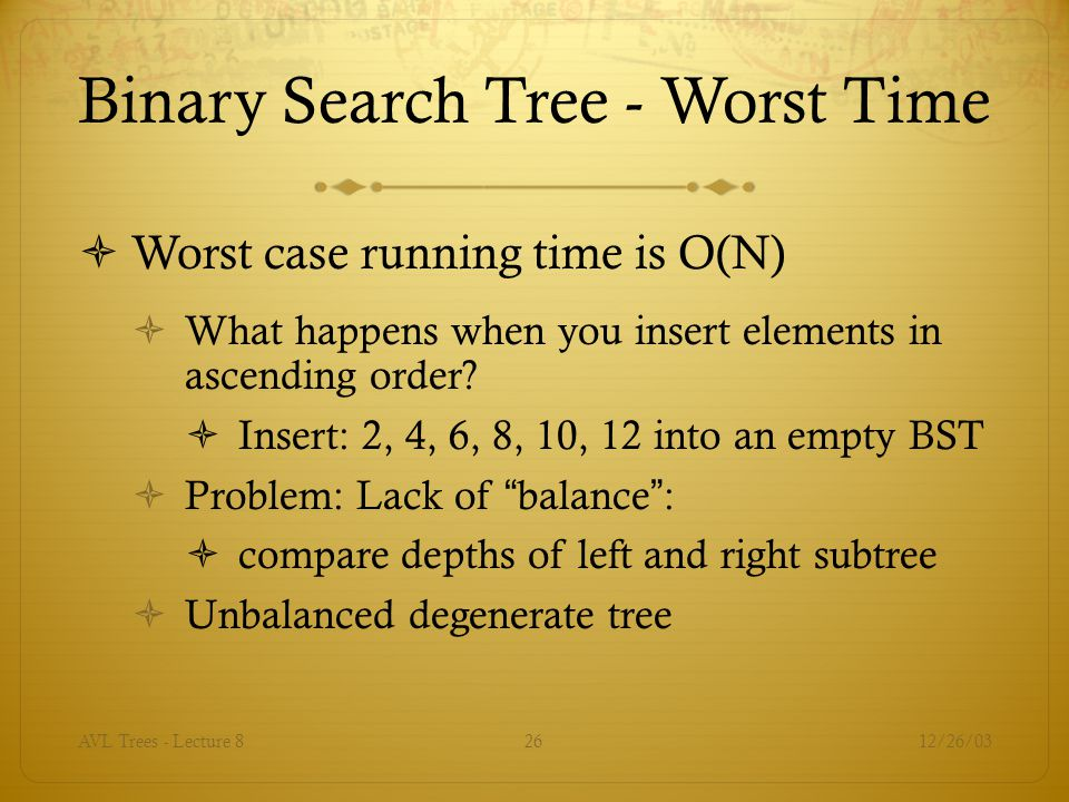 Binary Search Tree - Worst Time