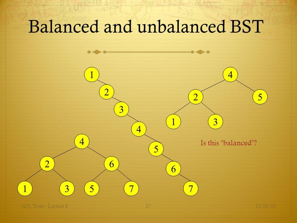 Balanced and unbalanced BST