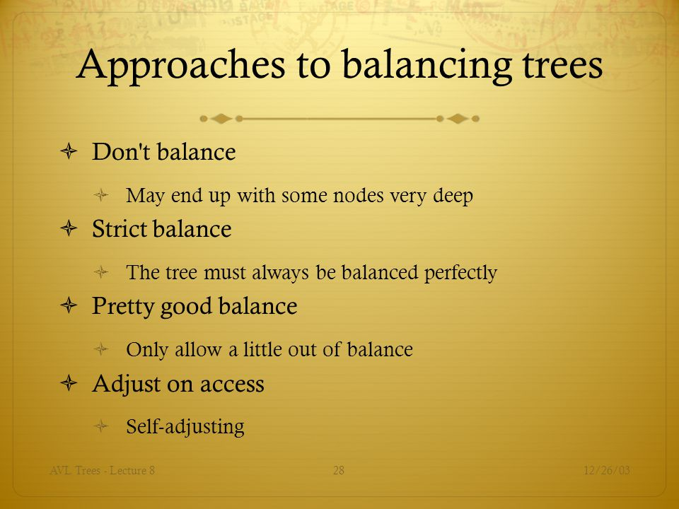 Approaches to balancing trees