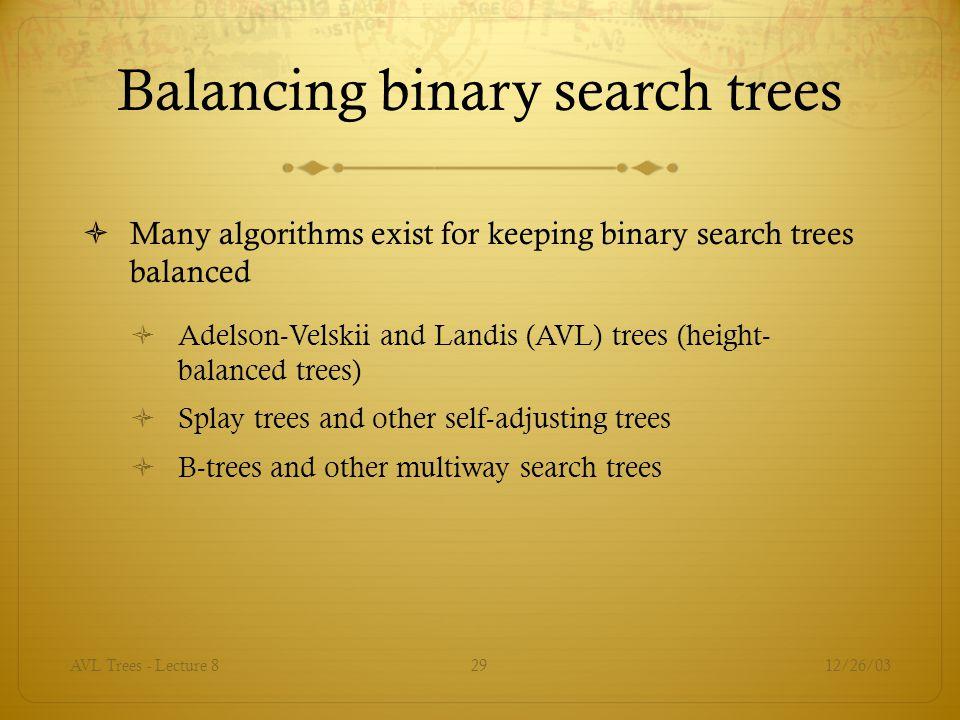 Balancing binary search trees