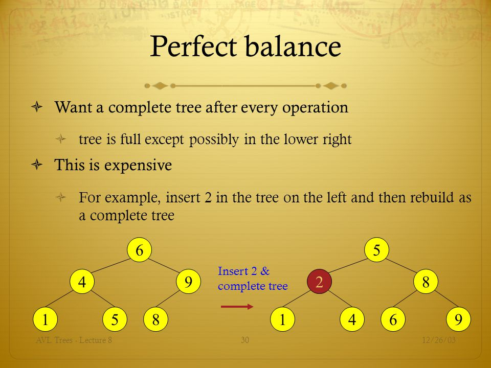 Perfect balance Want a complete tree after every operation