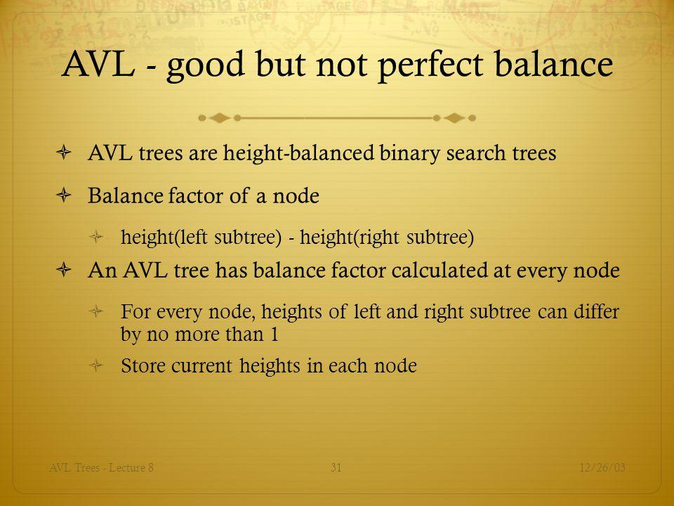 AVL - good but not perfect balance