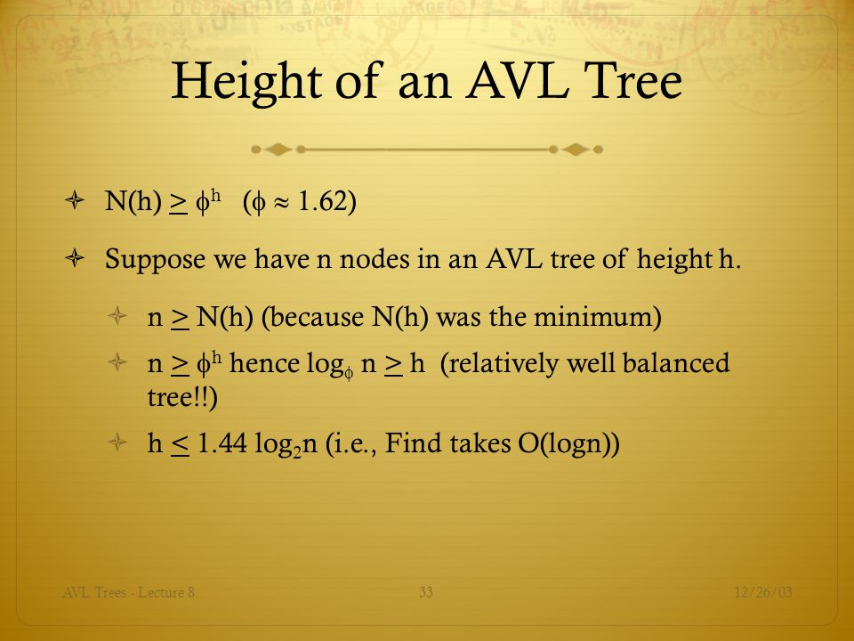 Height of an AVL Tree N(h) > h (  1.62)