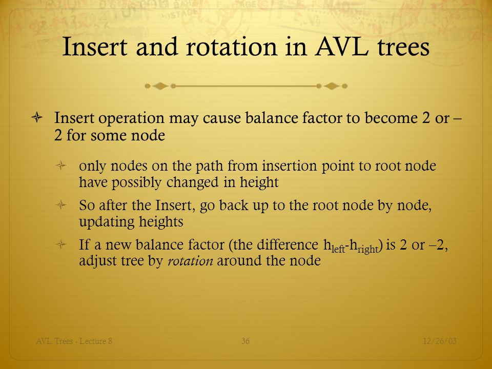 Insert and rotation in AVL trees