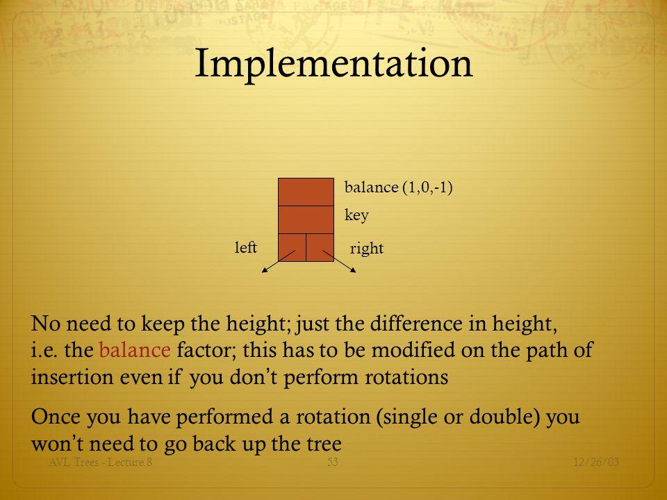 Implementation balance (1,0,-1) key. left. right.
