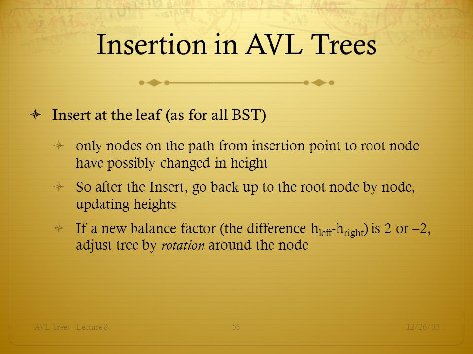 Insertion in AVL Trees Insert at the leaf (as for all BST)