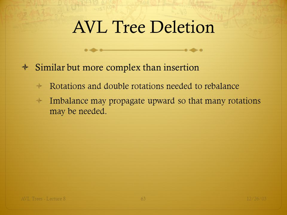 AVL Tree Deletion Similar but more complex than insertion