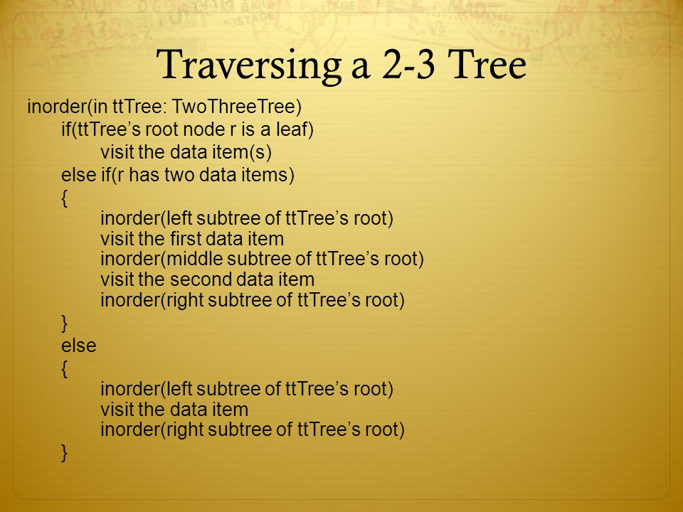 Traversing a 2-3 Tree inorder(in ttTree: TwoThreeTree)