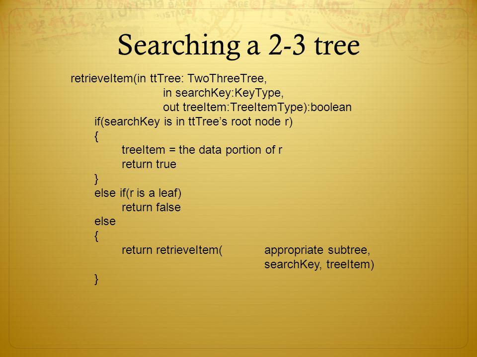 Searching a 2-3 tree retrieveItem(in ttTree: TwoThreeTree,