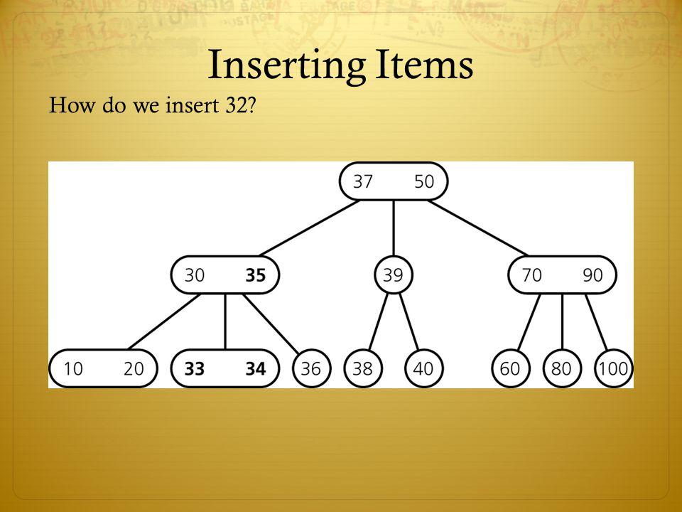 Inserting Items How do we insert 32