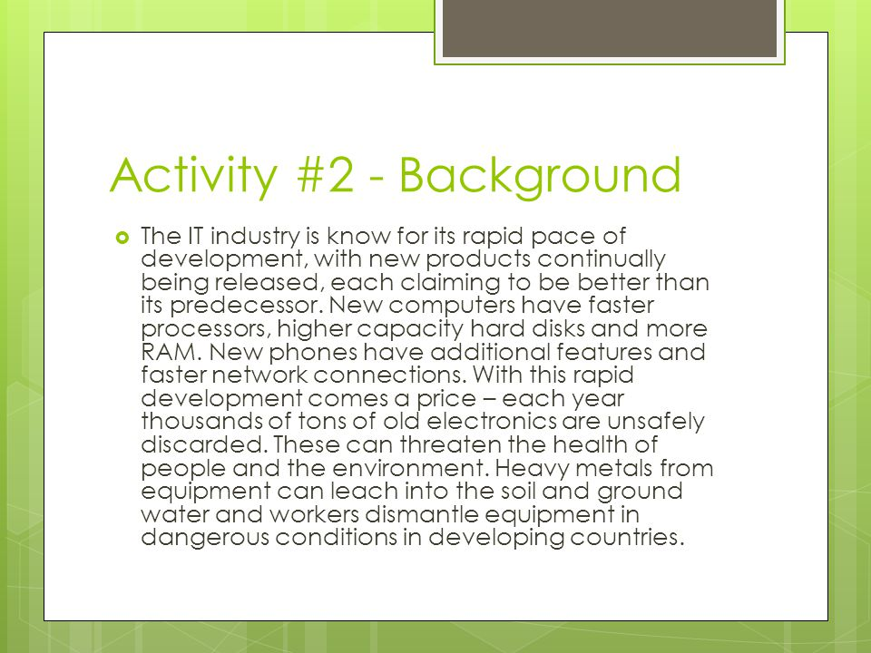 Activity #2 - Background