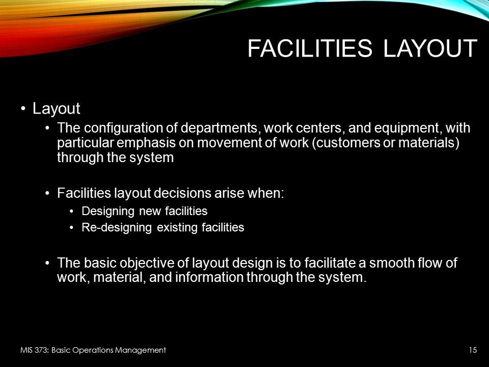 Facilities Layout Layout