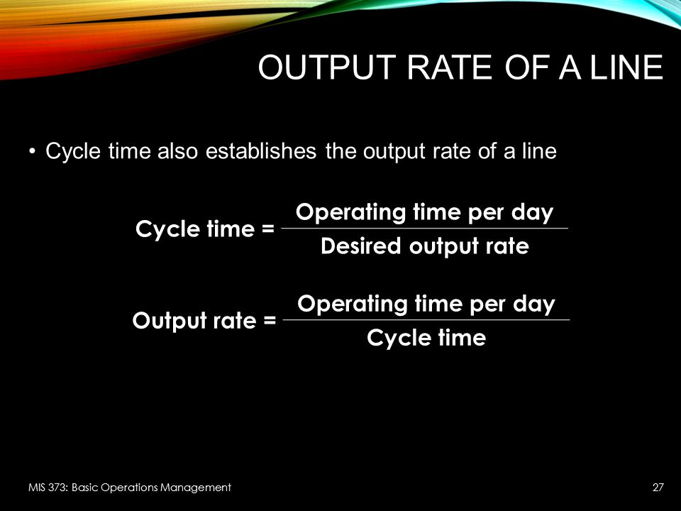 Output rate of a line Cycle time = Operating time per day