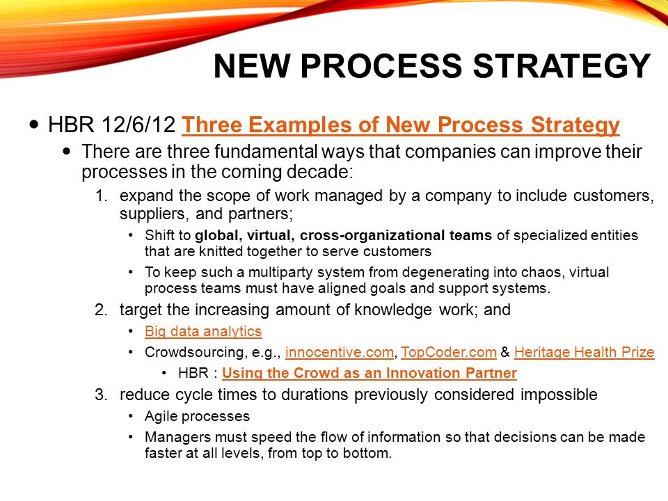 New Process Strategy HBR 12/6/12 Three Examples of New Process Strategy.