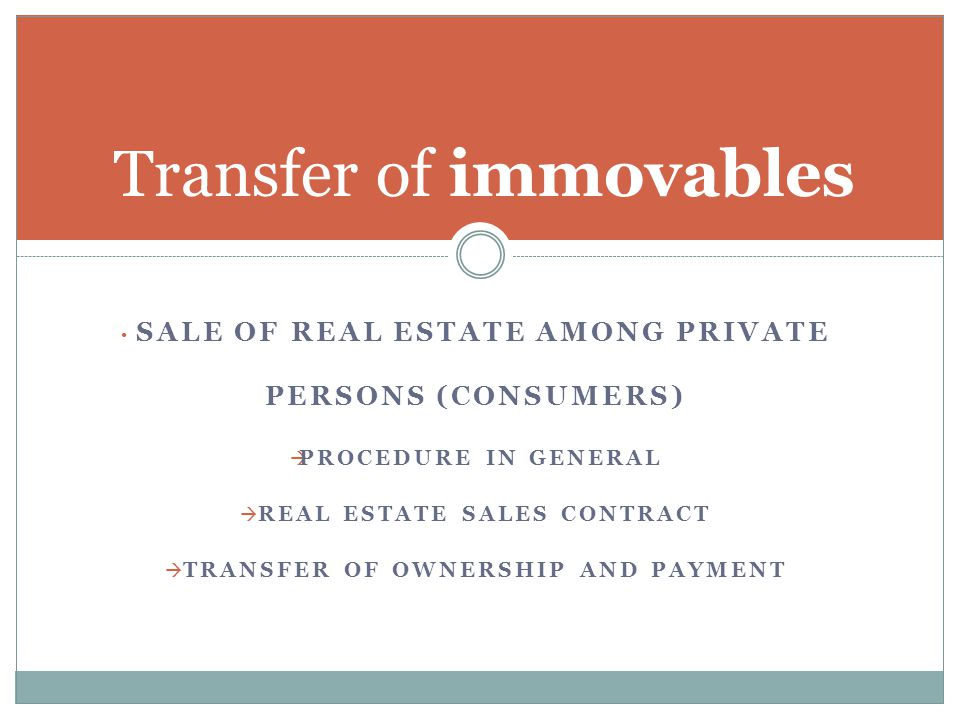 Transfer of immovables