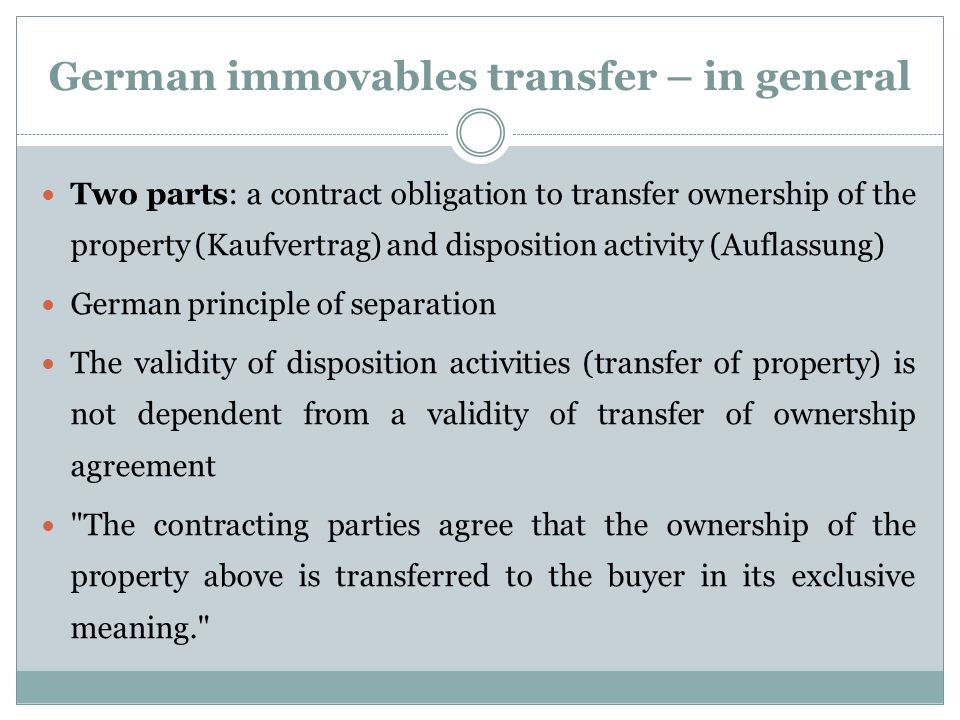 German immovables transfer – in general