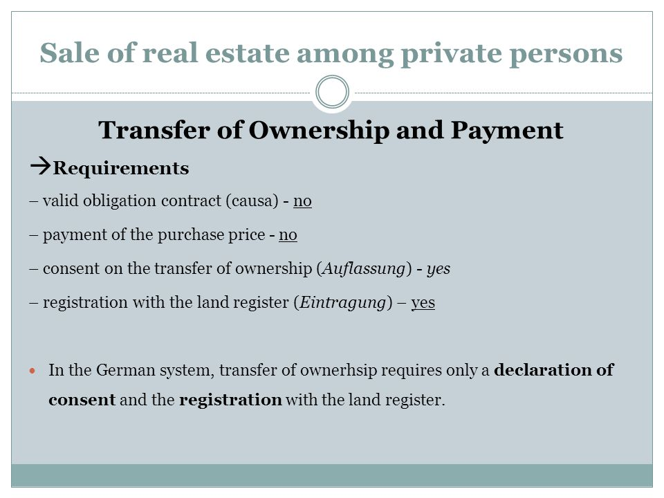 Sale of real estate among private persons