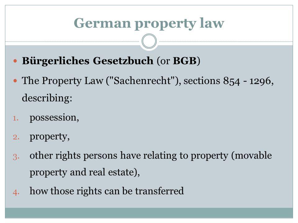 German property law Bürgerliches Gesetzbuch (or BGB)