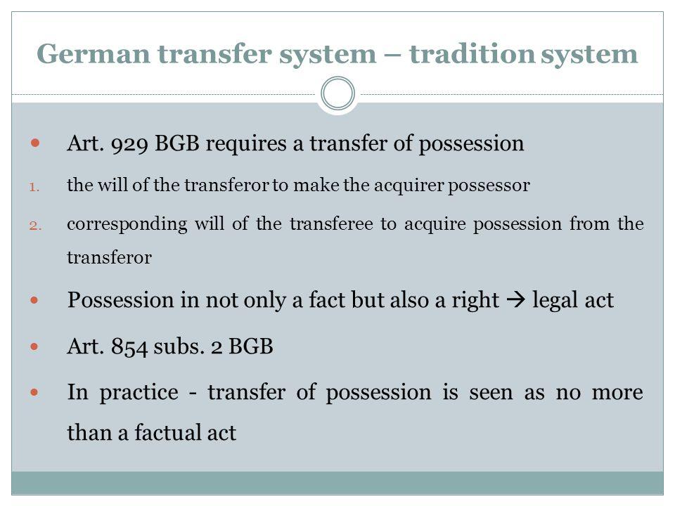 German transfer system – tradition system