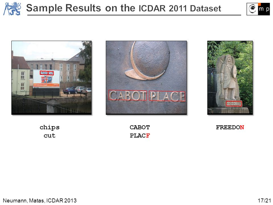 Sample Results on the ICDAR 2011 Dataset