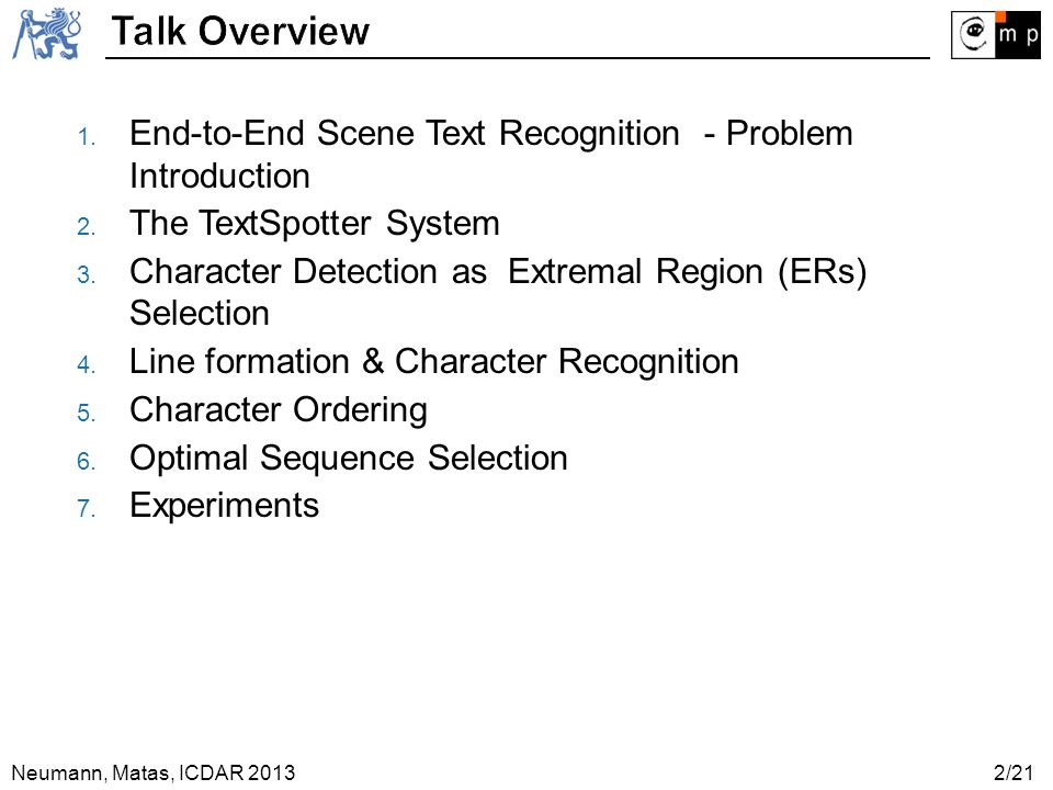 Talk Overview End-to-End Scene Text Recognition - Problem Introduction