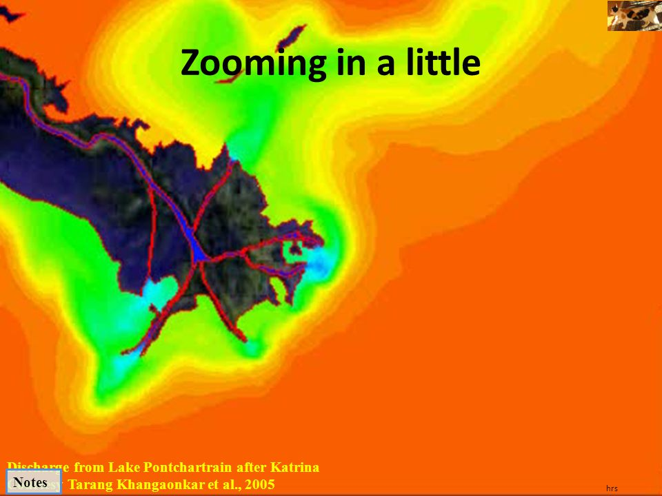 Zooming in a little Discharge from Lake Pontchartrain after Katrina
