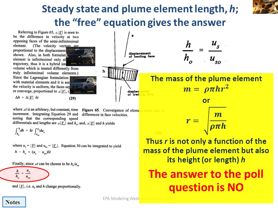 The mass of the plume element The answer to the poll question is NO