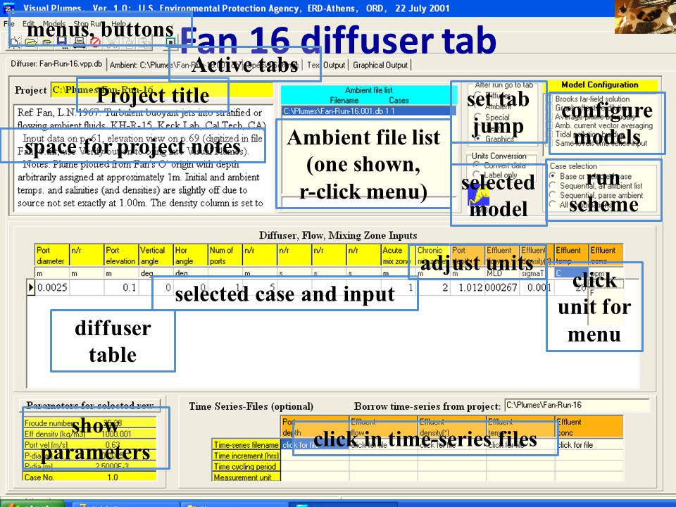 Fan 16 diffuser tab menus, buttons Active tabs Project title